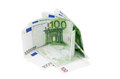 Eu banknotes heap of one hundred euro isolated on white background Stock Photo
