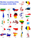 EU countries flag maps Stock Image