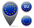 Eu flag european union marker and button Royalty Free Stock Photo