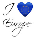 Eu flag i love europe european union Stock Photo
