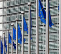 EU flags in front of berlaymont building Royalty Free Stock Photos