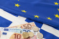 EU and greek flag Royalty Free Stock Photo