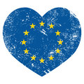 Eu i love european union heart retro flag vintage grunge style Royalty Free Stock Photos