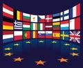 EU-Markierungsfahnen Stockfoto