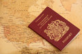 EU Passport on a world map Royalty Free Stock Image