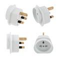 Eu to uk converter plug adapter isolated european travel over white background set of four foreshortenings Stock Photos