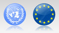 Eu and un signs united nations european union Royalty Free Stock Images