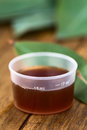Eucalyptus cough syrup in medicine cup with fresh leaves selective focus focus on the ml sign on the cup Royalty Free Stock Photography