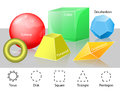 Euclidean geometry geometric shapes cube and pyramid sphere and torus disk and triangle pentagon octahedron and decahedron Stock Images