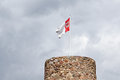 The eulenturm owls tower in templin in the uckermark was formerly the town jail on the tower flies the municipal flag today the Stock Photo