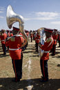 Euphonium and tuba players from a marching band Royalty Free Stock Image