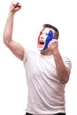 Euphoric scream of France football fan in win game of France national  team. Royalty Free Stock Photo