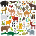 Eurasia animal bison bat fox wolf elk horse cock camel partridge fur seal Walrus goats Polar bear Eagle bull raccoon snake sheep p Royalty Free Stock Photo