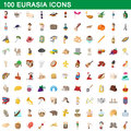100 eurasia icons set, cartoon style