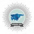 Eurasia map with vintage style star burst, blue Royalty Free Stock Photo