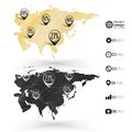 Eurasia map wooden design texture infographics vector illustration Royalty Free Stock Image