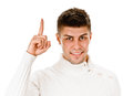 Eureka man with an idea raising his finger handsome in the air portrait on white Royalty Free Stock Photo