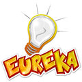 Eureka sticker word and light bulb on white background Stock Photography