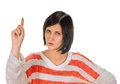 Eureka woman with an idea beautiful raising her finger in the air portrait on white Stock Photos