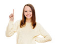 Eureka woman with an idea raising her finger beautiful in the air portrait on white Royalty Free Stock Photo