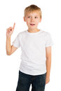 Eureka young boy showing an expression of satisfaction as he discovered or found something by rising his index finger Royalty Free Stock Photography