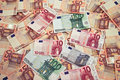 Eures background pile from euros banknote backgound Stock Photo