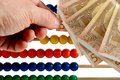 Euro and abaucus abacus beads with european money Stock Image