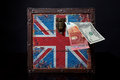 Euro and american dollar on British flag Royalty Free Stock Photo