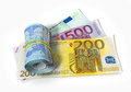 Euro bank notes with roll Royalty Free Stock Photo