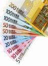 Euro bankbiljetten, ventilator die van euro document munt wordt gemaakt Stock Afbeeldingen