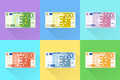 Euro Banknote Set Flat Design with Shadow Vector Royalty Free Stock Photo