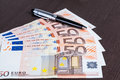 Euro banknote on the table Royalty Free Stock Photography