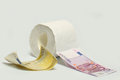 Euro banknote and toilet paper Royalty Free Stock Photo