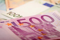 Euro banknotes and Royalty Free Stock Photos