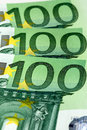 Euro banknotes background close up of three for Stock Photography