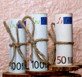 Euro banknotes  on the background of crumpled paper Royalty Free Stock Photo