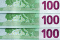 Euro banknotes background overhead shot of the back of three overlapping Royalty Free Stock Images