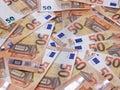 50 euro banknotes or bills carpet background Royalty Free Stock Photo