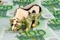 Euro banknotes. Bull and Bear Royalty Free Stock Photo