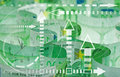 Euro banknotes closeup and graph Stock Photography