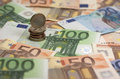Euro banknotes and coins detail of some Royalty Free Stock Photo