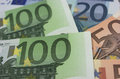 Euro banknotes detail of some Stock Photo
