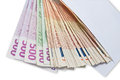 Euro banknotes different bills in a white envelope Royalty Free Stock Photography