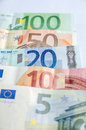 Euro banknotes with different denomination isolated on white Stock Photography
