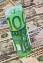 Euro banknotes and dollar Stock Photos
