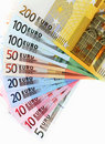 Euro banknotes, fan made of euro paper currency Stock Images