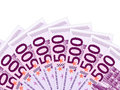 Euro banknotes five hundred on a white background Stock Photos