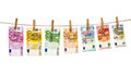 Euro banknotes hanging clothes pins Money laundering Royalty Free Stock Photo