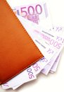 Euro banknotes in leather wallet Royalty Free Stock Photos