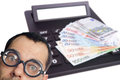 Euro banknotes man with glasses and calculator with money bills Royalty Free Stock Photography